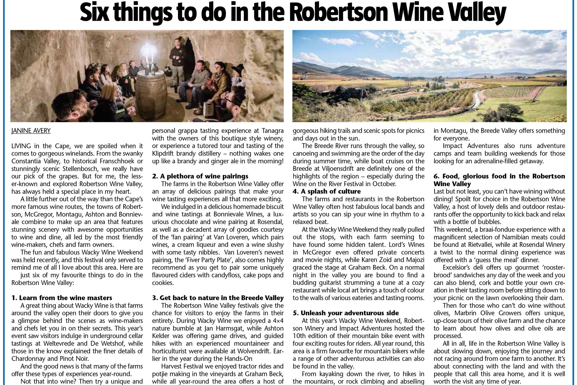 Cape Argus Robertson Wine Valley